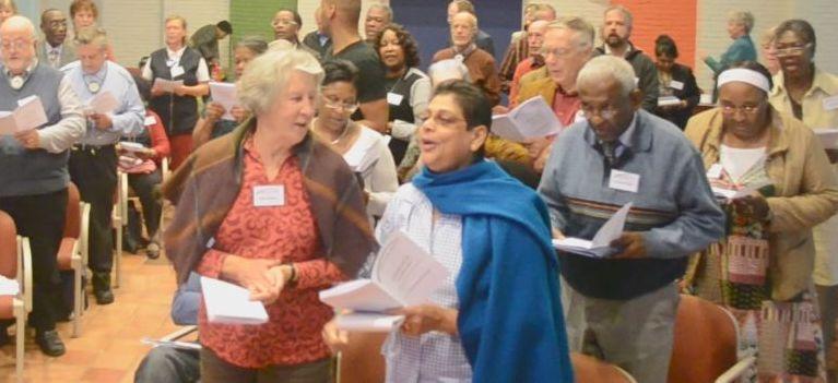 Samen zingen op de conferentie